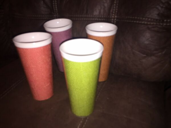 4 VINTAGE RAFFIAWARE 12 oz MULTI COLORED BURLAP CUPS TUMBLERS 6quot; tall