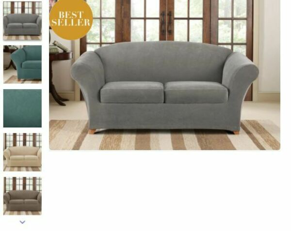 NEW Sure Fit Flannel Gray Pique LOVESEAT slip cover waffle weave $19.99