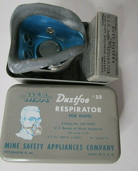 Vintage Mine Safety Appliance MSA Dustfoe For Dusts #55 Kit Complete USA E2 $29.95