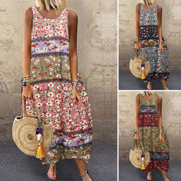 US STOCK Women Linen Cotton Kaftan Long Maxi Shirt Dress Loose Casual Tank Dress $15.29