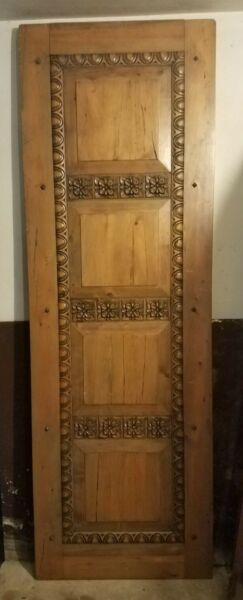 ANTIQUE ORIGINAL SOLID HAND CARVED WOOD DOOR AMAZING SALVAGE FIND VG CONDITION $395.00