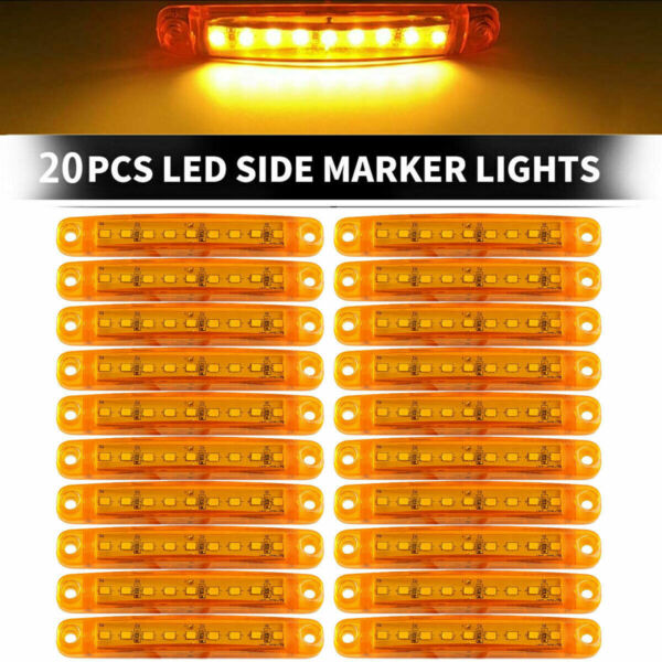 20Pcs Amber 9 LED Sealed Side Marker Clearance Light For Truck Trailer Lorry Bus