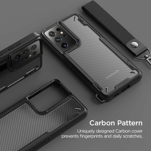 For Galaxy S21 Plus Ultra Case VRS® Crystal Mixx Pro Carbon Pattern Clear Cover $14.99