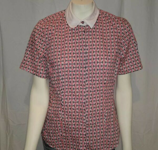 Tommy Hilfiger womens sz L short sleeve button front shirt Tommy Logo patriotic $19.99