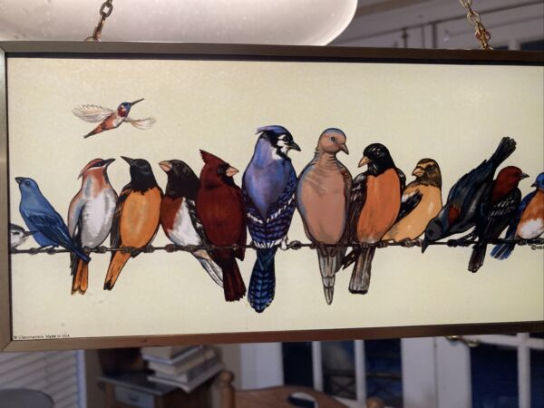 Vintage Glassmasters Stained Glass sun catcher Songbirds On A Wire. Wegner.