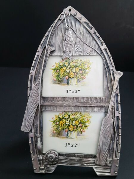 Fishing Boat w Fish 3 D Effect Pewter Picture Frame Vintage Style $7.25