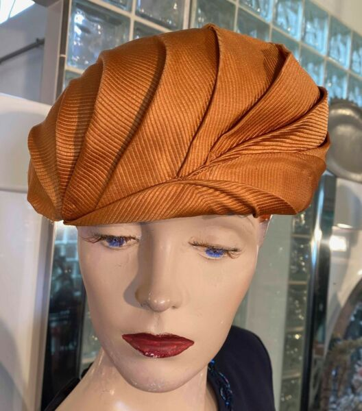 VTG 40s 50s Glenover Henry Pollak N. Y. Copper Wool amp; Silk Womens Hat Exquisite