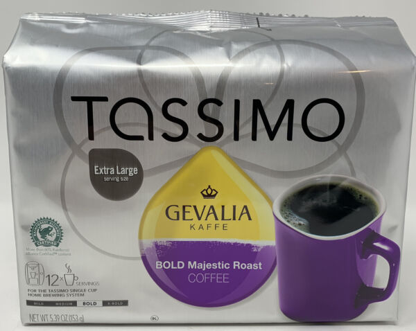 TASSIMO Gevalia Bold Majestic Roast Coffee Pods 12 Ct Best By 2 2021