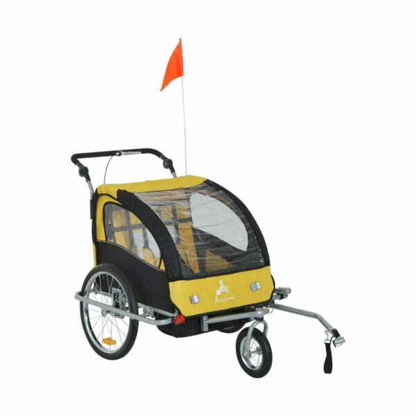 Double Bike Trailer Child Pet Three Wheel 2 in 1 Bicycle Cargo Jogger Stroller $299.98