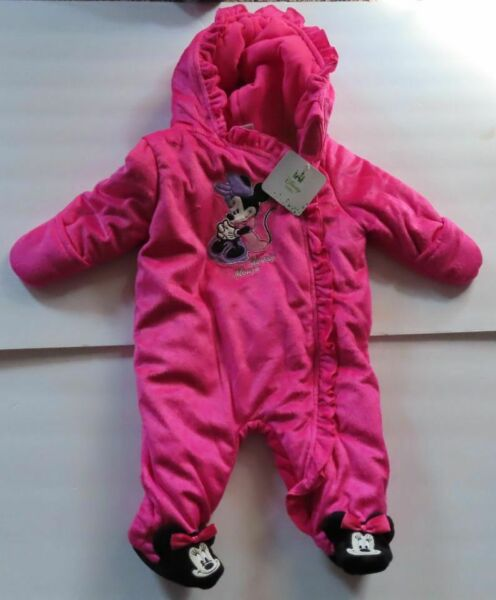 Disney Baby Minnie Mouse Baby GirlsSnowsuit Winter Hooded Bunting 3 6 Months