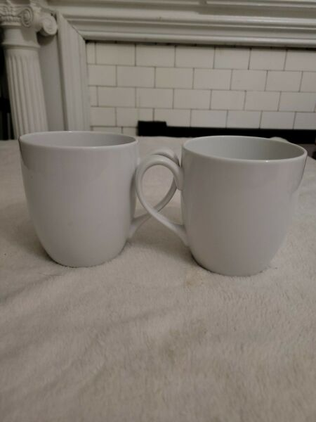 2 Large Crate And Barrel Coffee Tea Mugs In White