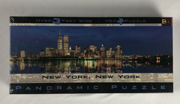 New York New York 3 Feet Wide Panoramic Puzzle 750 Piece Twin Towers Sealed $14.99
