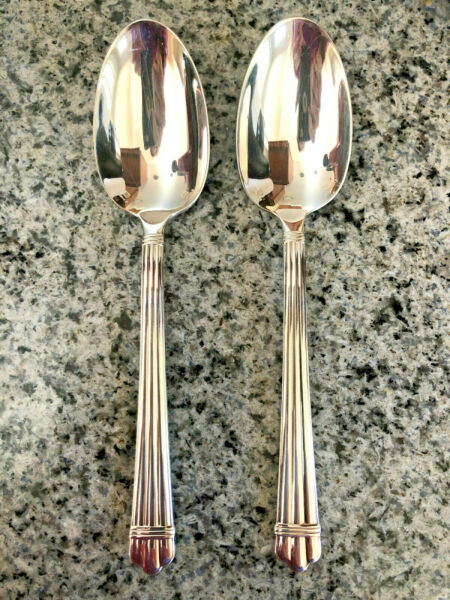 2 Christofle France ARIA Place Soup Spoons Silverplate Flatware 7 1 2quot;