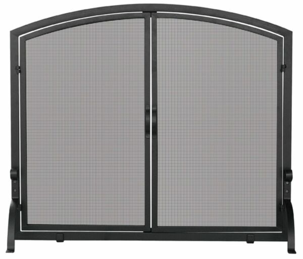 Single Panel Black Wrought Iron Screen with Doors 33quot; x 39quot;