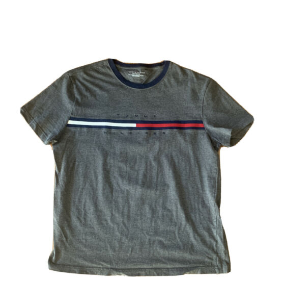 Men's Tommy Hilfiger Grey Gray T shirt Size XL Logo $17.97