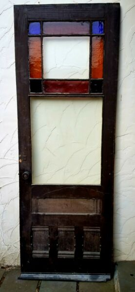 ANTIQUE QUEEN ANNE VICTORIAN STAINED GLASS DOOR CATSKILLS NY 1890 COOL HARDWARE