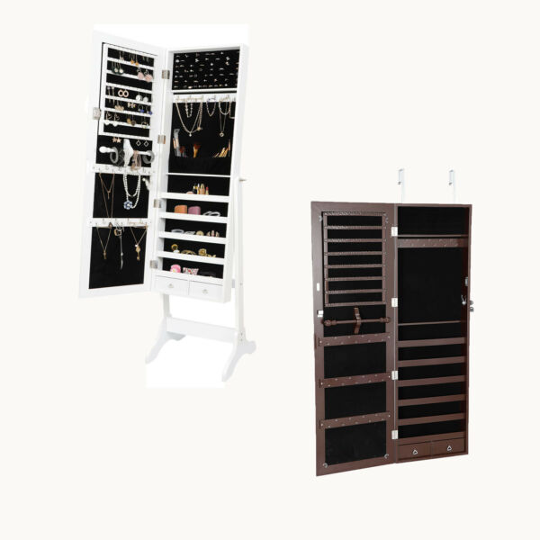 Jewelry Cabinet Armoire Large Box Organizer Mirror Armoire Storage Indoor Home