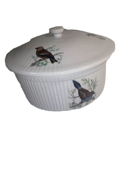 Rare FRENCH Vintage APILCO FRANCE porcelain Chamari GAME BIRDS Bowl Dish amp; Lid