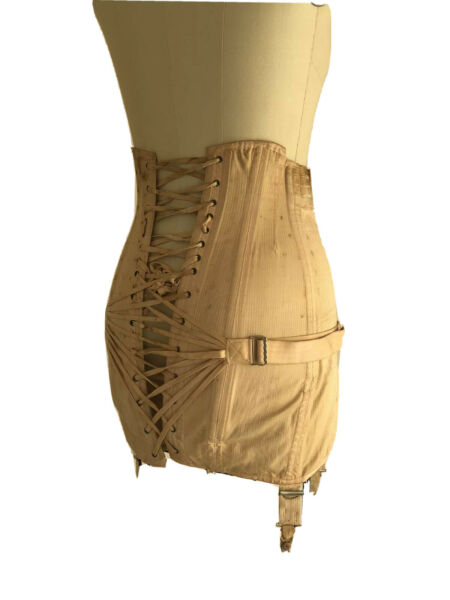 Vintage Corset 1920s 1930s Open Bottom Girdle Boning Fan Lacing Garters S M
