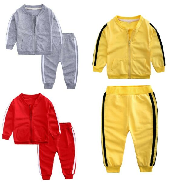 Baby Girls Boys Sports Outfits Long Sleeves Pocket Coat Pants Tracksuit Clothing