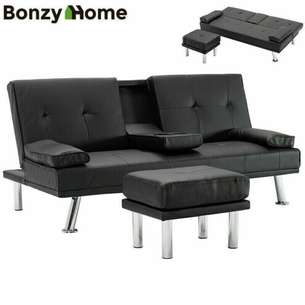 Futon Couch Sofa Bed Sleeper Faux Leather Convertible Foldable Loveseat Black $334.75