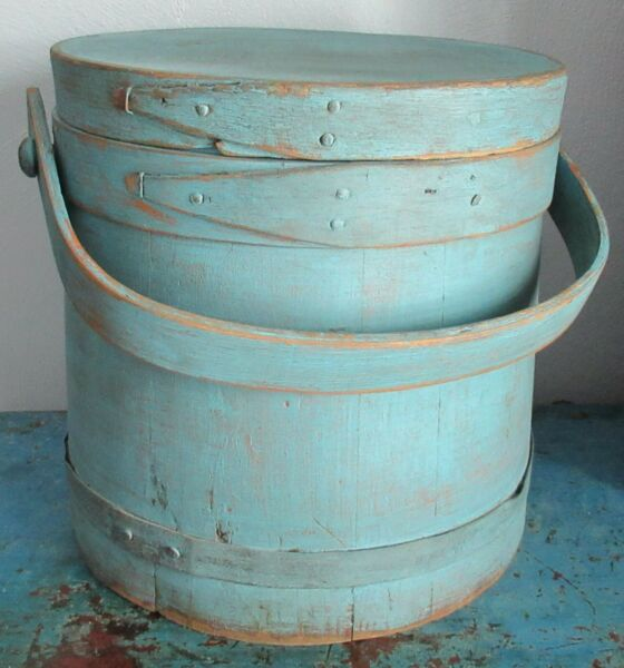9 3 4quot; Firkin Sugar Bucket Wooden Blue Paint Pantry Box Shaker Primitive