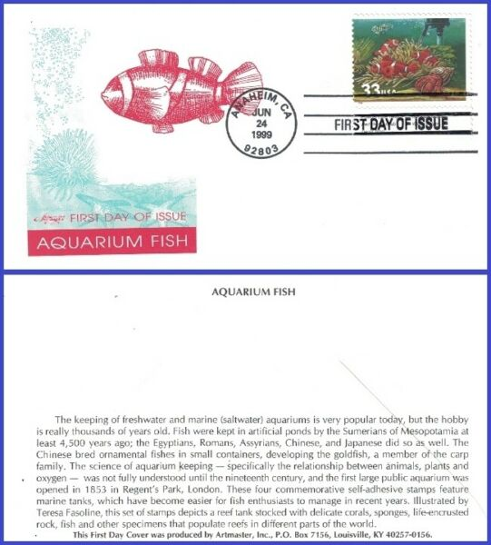 USA3 #3320 U A ARTMASTER FDC Fish Heater $2.80