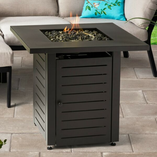 Black Firepit Table Fire Glass LP Gas Flame Lid Cover 28quot; Square Outdoor Patio