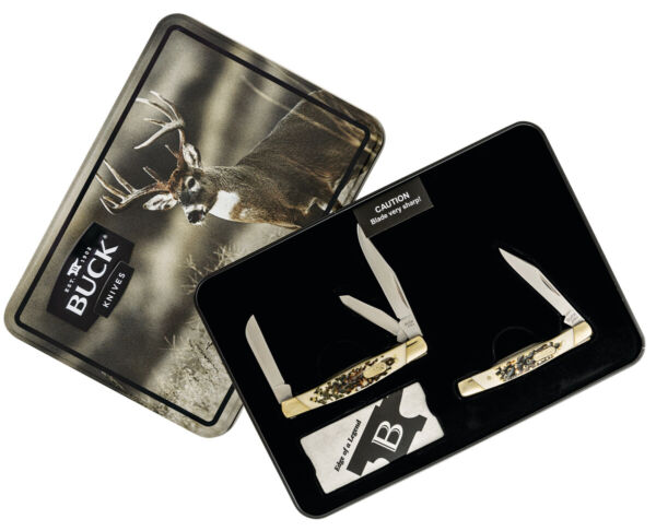 BUCK POCKET KNIFE 373 TRIO amp; 379 SOLO COMBO KNIFE SET COLLECTOR'S TIN EDITION