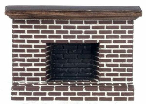 Dollhouse Miniature Red Brick Fireplace in Resin