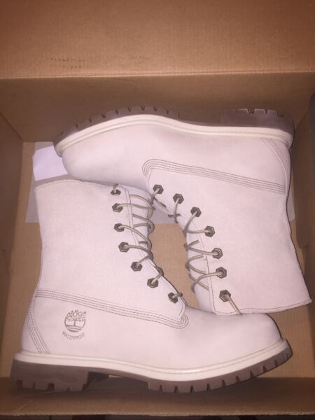 Authentic Timberland Teddy Fleece Fold Down Womens Leather Boots Ivory Size 7 $80.00