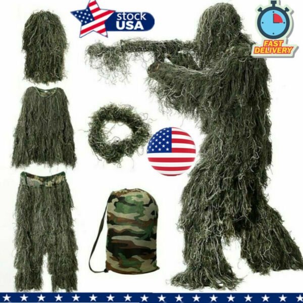 New Ghillie Suit XL XXL Camo Woodland Camouflage Forest Hunting 3D 4 Piece Bag