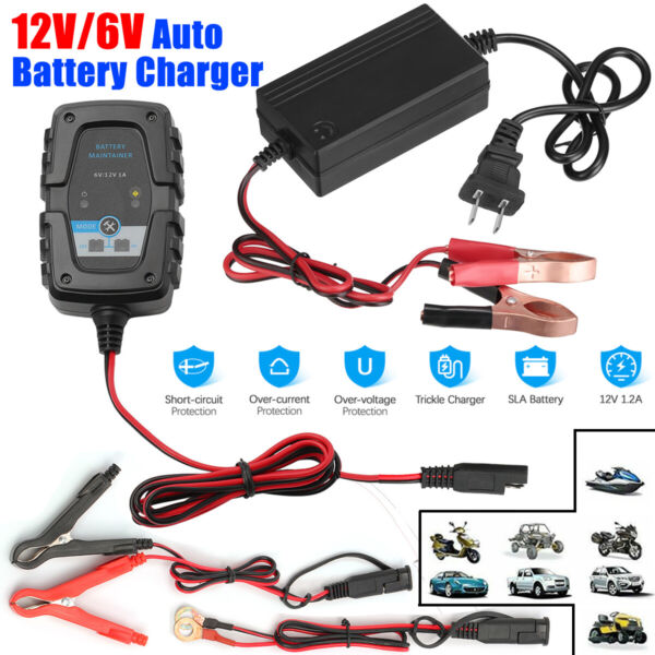 12V 6V Auto Battery Charger Motorcycle Trickle Float For Tender Maintainer Car $17.99