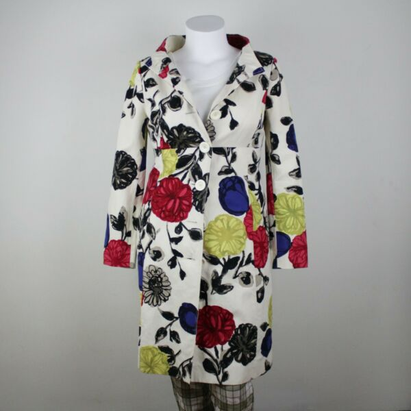 Moschino Cheap and Chic Floral Long Jacket Womens 10 Linen Trench Coat Pop Art $74.99