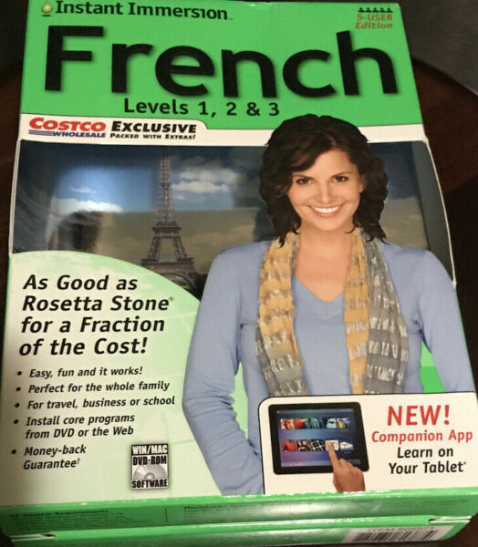 Instant Immersion Family Edition French Levels 12 amp; 3 PC amp; Mac Foreign Language $18.99