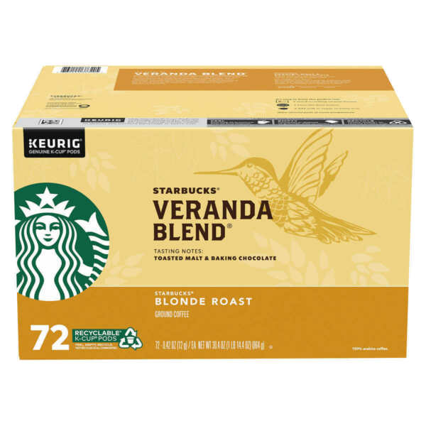Starbucks Coffee Veranda Blend Blonde Roast K Cup Pods 72 count Free Shipping