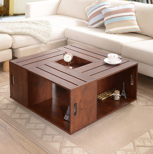 Walnut Coffee Table Rustic Country Wine Crates Inspired 4 Open Shelves Wheels