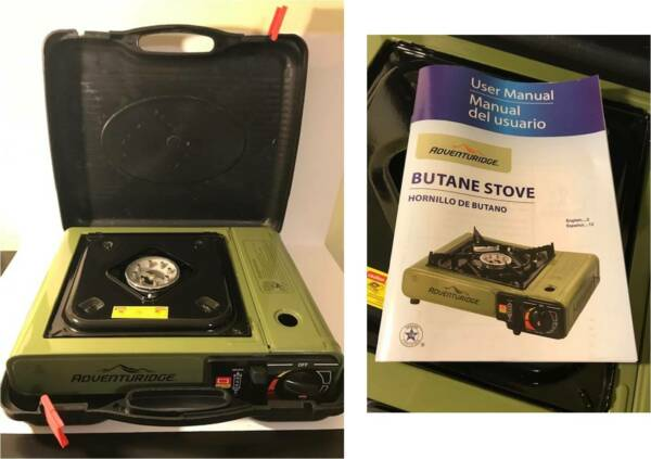 UNUSED ADVENTURIDGE PORTABLE CAMPING BUTANE GAS STOVE in HARD CASE COOKING