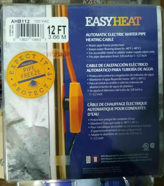 Easy Heat electric water pipe heat tape cable 12 ft long 110 volt AHB112 $19.88