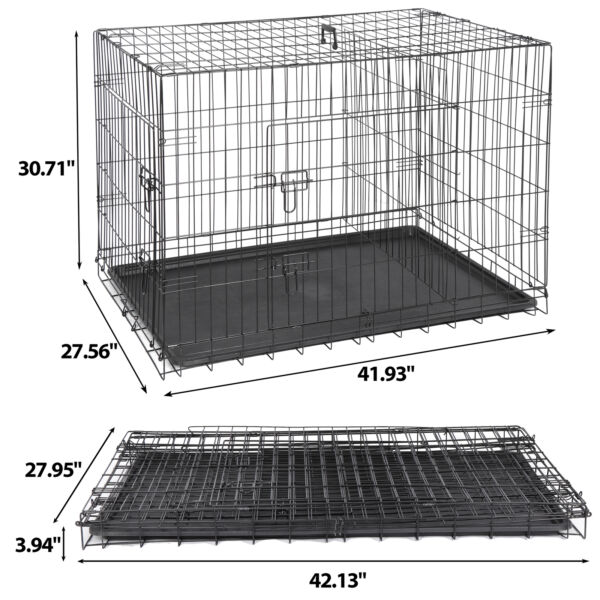 42quot; Metal Pets Dog Crate Double Door Folding Metal Dog Crates Fully Equipped $83.99