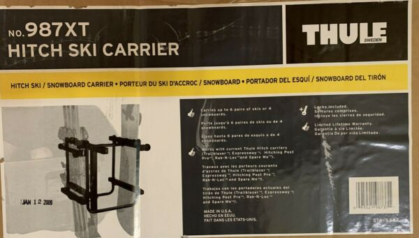 Thule 987XT 6 Ski 4 Snowboard Carrier Car Rack ** Goes on your Thule Bike Rack $95.00