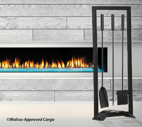 CRATE amp; BARREL ARCH BLACK FIREPLACE TOOL SET – NIB – POKE SCOOP SWEEP IN STYLE