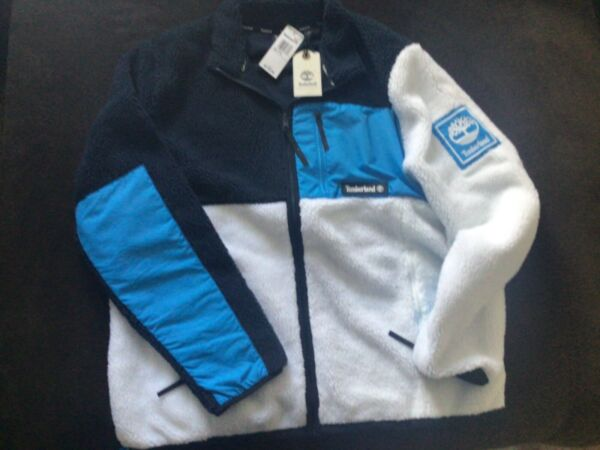 MENS TIMBERLAND SHERPA FLEECE JACKET SIZE 2XL BLUE BLACK WHITE $64.99