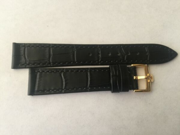 18mm Black Leather Band with Yellow Gold Buckle For Omega Watch $49.50