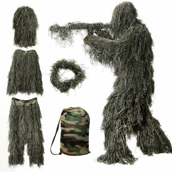 Ghillie Suit S 2XL Camo Woodland Camouflage Forest Hunting 3D 4 Piece bag Gift