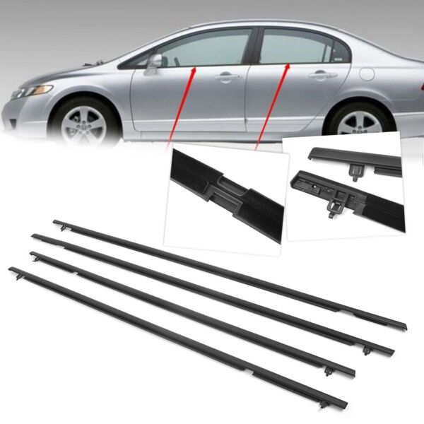 4x Outside Window Weatherstrip Moulding Seal Belt Trim For Honda Civic 2006 2011