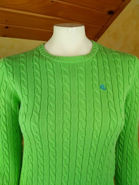 Lauren ralph lauren womens size small Petite cable knit Lime green sweater $23.95