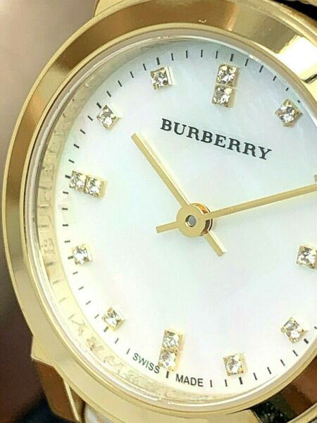 Burberry Women#x27;s Watch BU9226 Gold Tone Check Leather Strap Swiss Petite 26.5mm $157.50