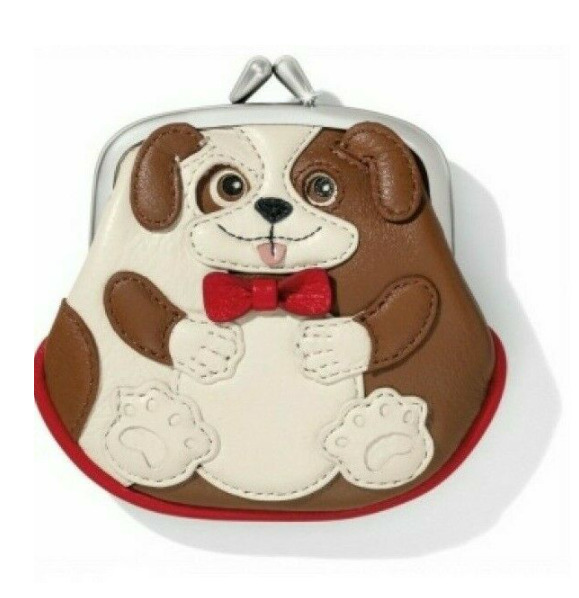 Brighton Menagerie DUKE DOG Leather French Kiss Clasp Coin Purse NWT MSRP $75 $24.49