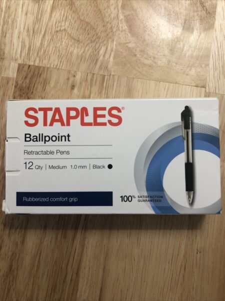 STAPLES® BALLPOINT RETRACTABLE PENS MEDIUM 1.0MM BLACK 12CT *FAST SHIP* AA3 2
